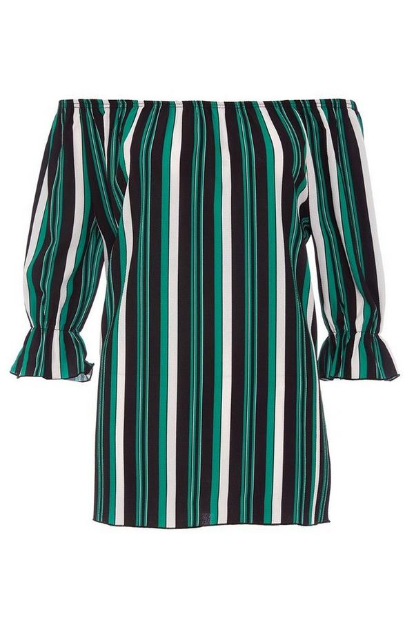 Green And Black Stripe Bardot Top