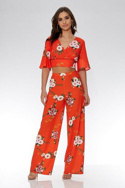 Orange And White Floral Palazzo Trousers