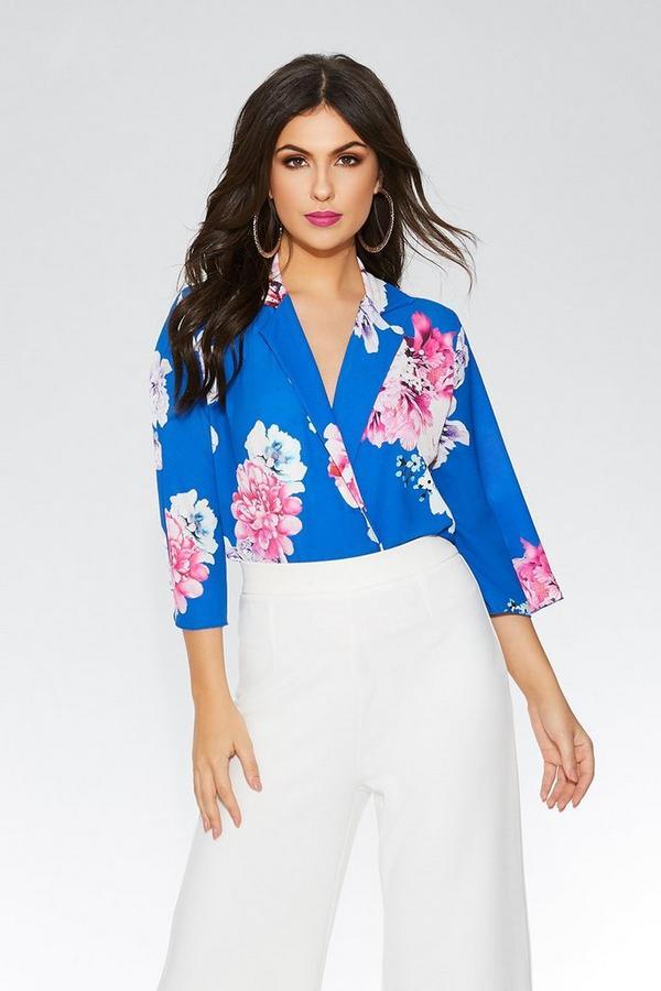 Royal Blue Floral  Lapel Bodysuit