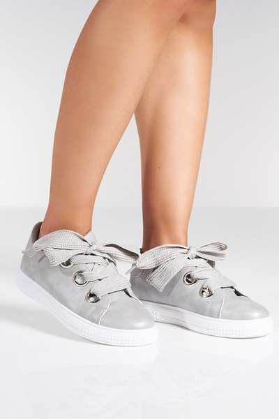 Grey Oversized Lace Trainer