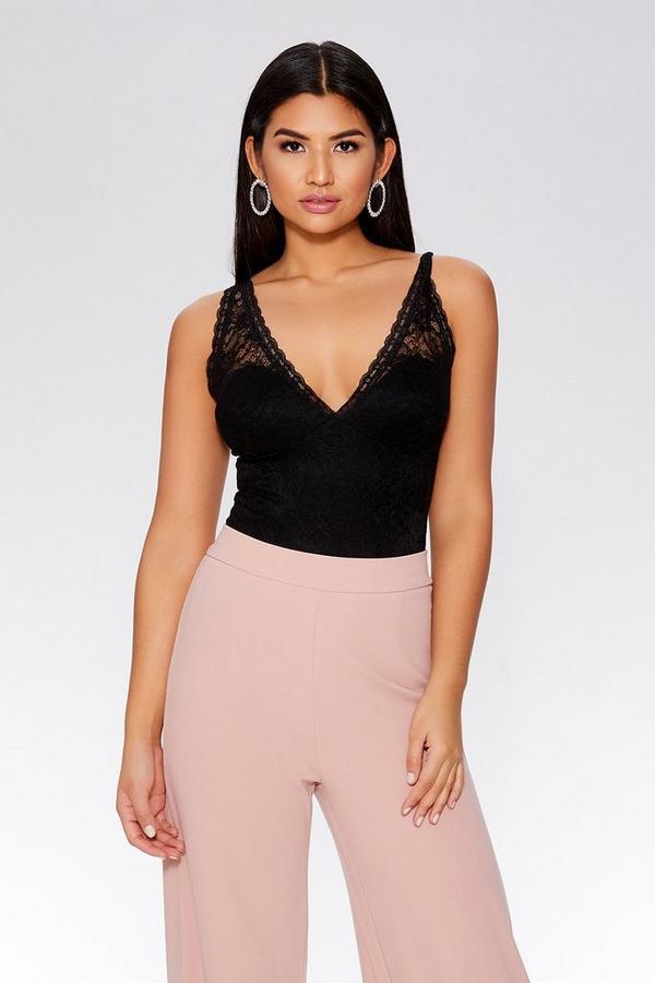 Black Lace Scallop Bodysuit