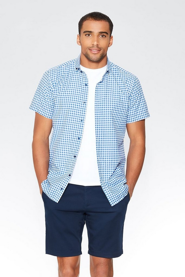Blue Gingham Short Sleeve Shirt