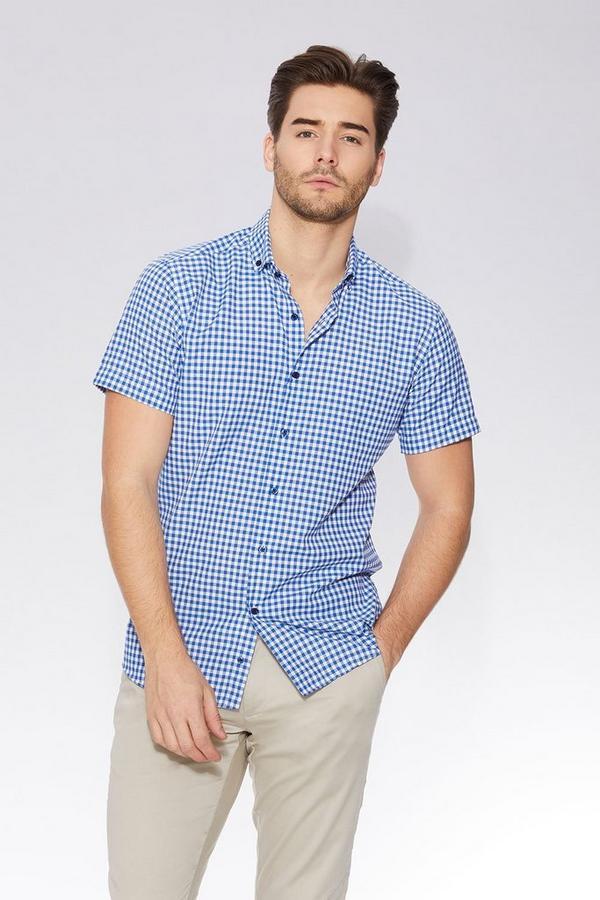 Dark Blue Gingham Short Sleeve Shirt