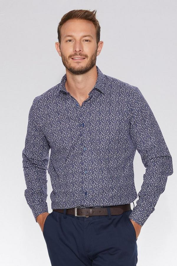 Navy Flower Print Long Sleeve Shirt