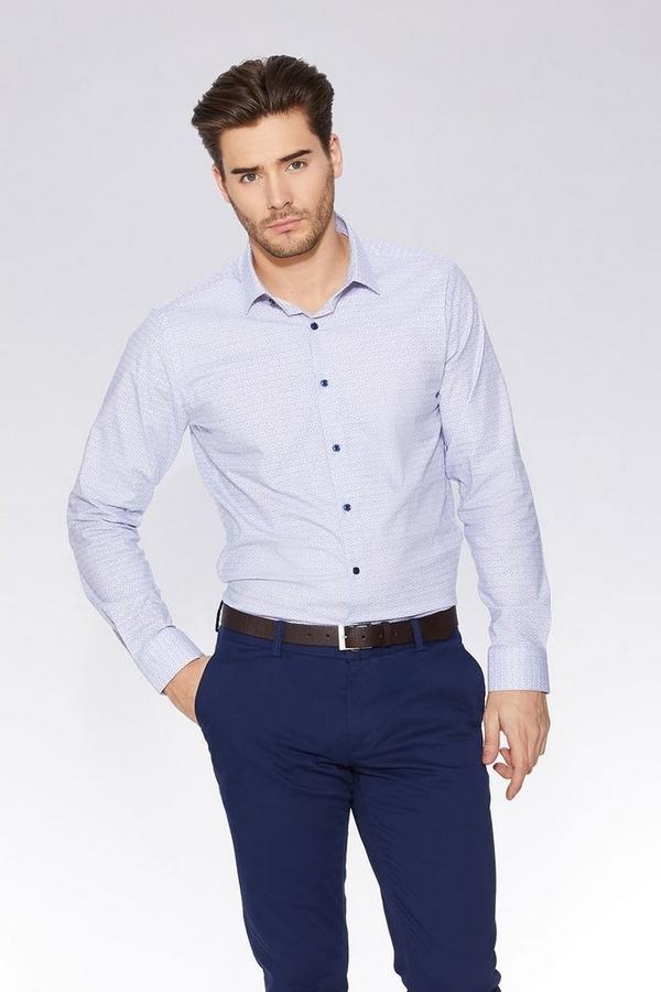 Grey and Blue Geometric Print Long Sleeve Shirt