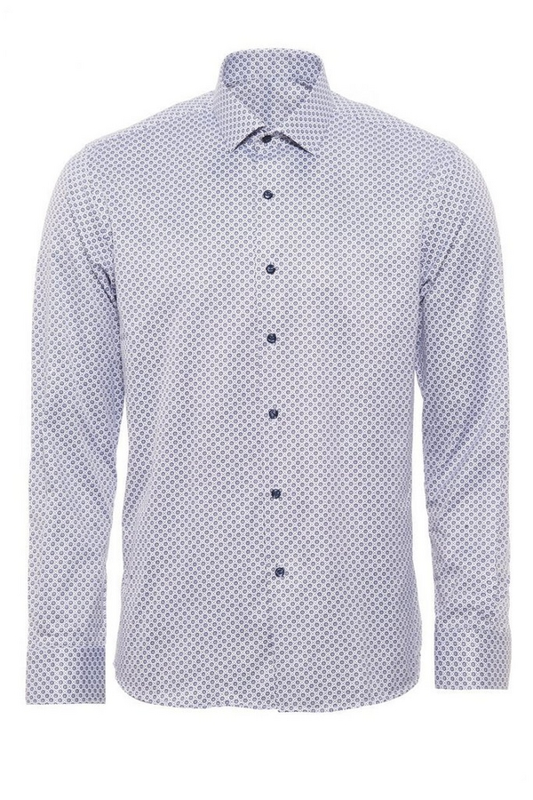Blue Geometric Print Long Sleeve Shirt