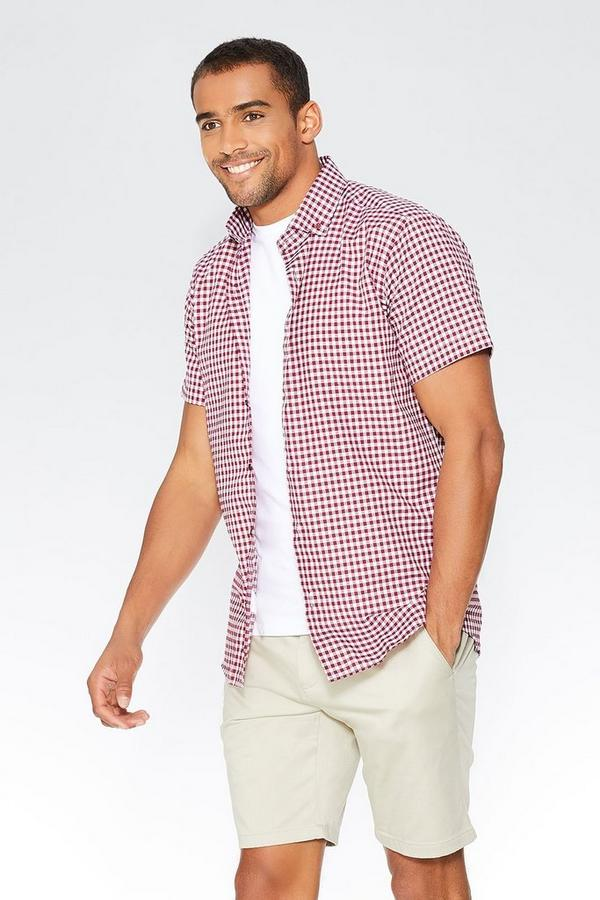 Berry Gingham Short Sleeve Shirt