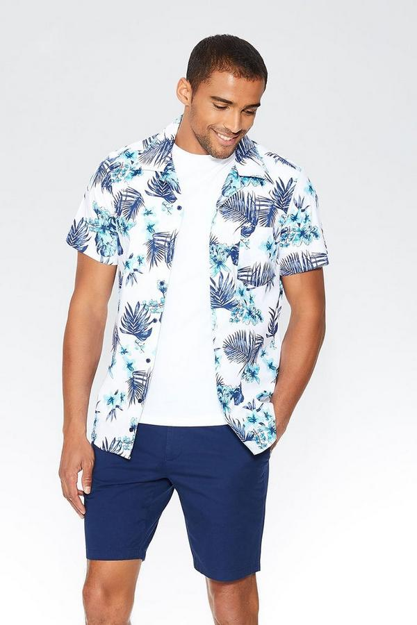 White & Teal Hawaiian Print Slim Fit Shirt