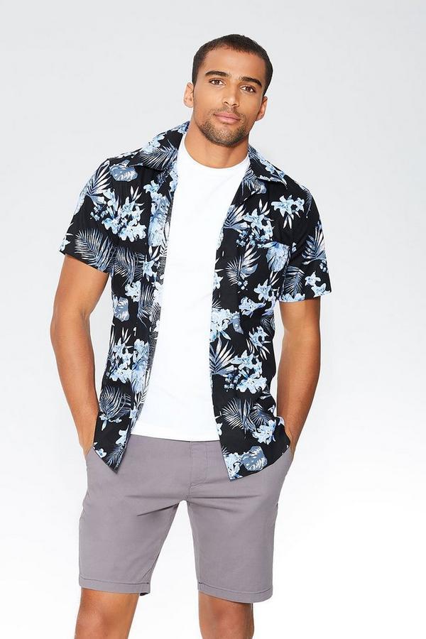 Black Hawaiian Print Slim Fit Shirt