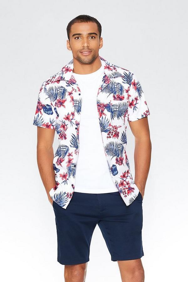 Navy & Red Hawaiian Print Slim Fit Shirt