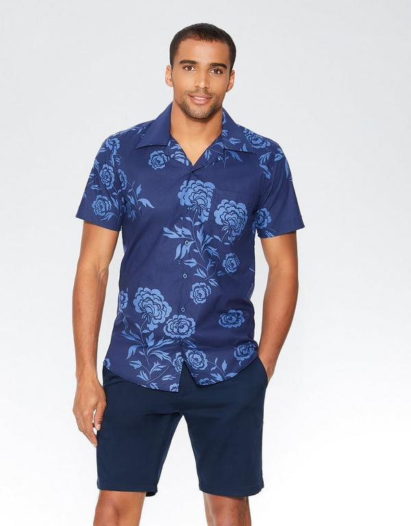 Navy Hawaiian Print Short Sleeve Shirt