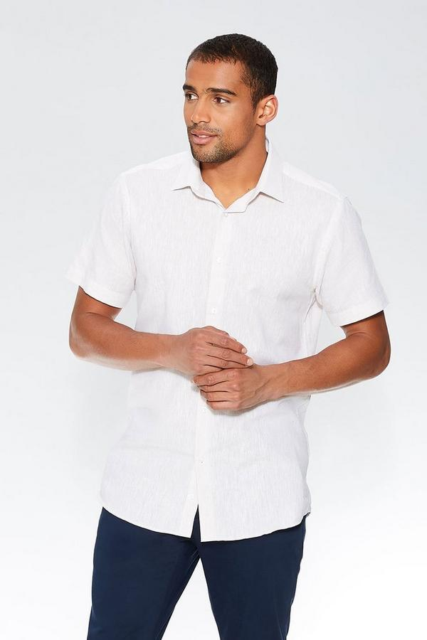 Stone Linen Short Sleeve Shirt