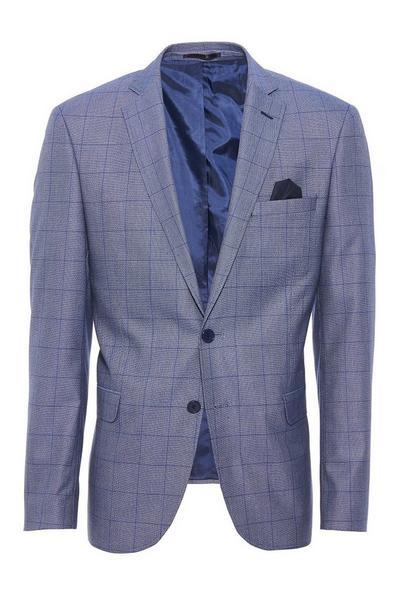 Light Blue Grid Check Blazer