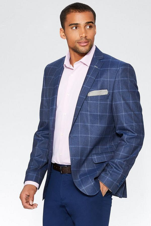 Dark Blue Window Pane Check Blazer