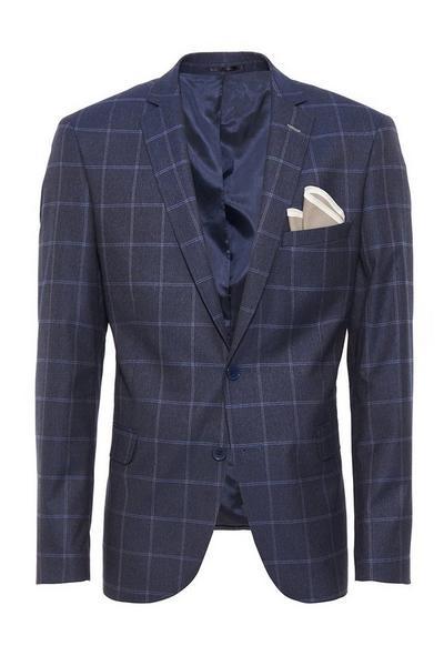Dark Blue Window Pane Check Blazer