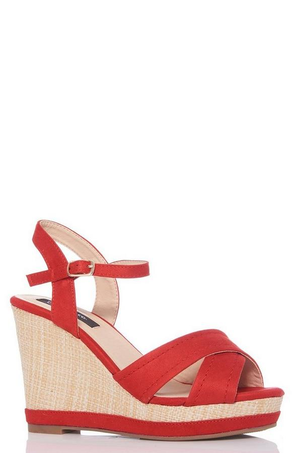 Red Faux Suede Woven Heel Wedge