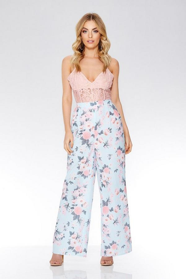 Blue & Pink Floral Palazzo Trousers