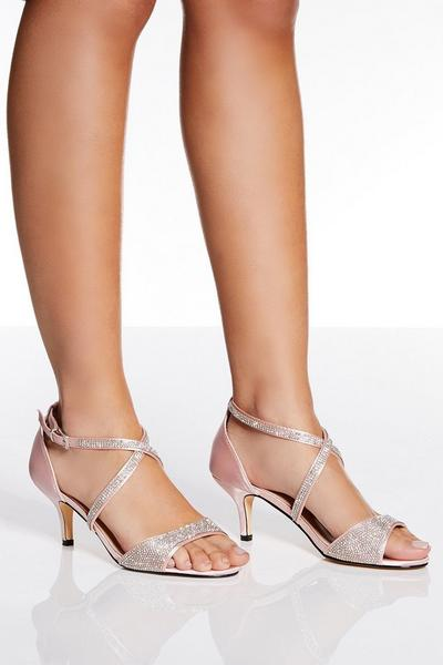 Pink Satin Cross Over Low Heels