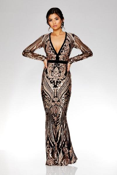 Black And Rose Gold Sequin Embellished Fishtail Maxi Dress