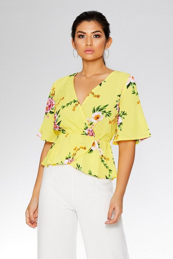 Yellow And Pink Floral Wrap Top