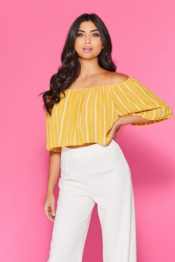Mustard Stripe Crop Top