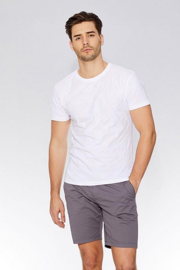 White & Pink Geometric Print Slim Fit T-Shirt