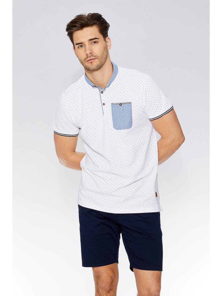 White & Navy Polka Chambray Collar Polo Shirt