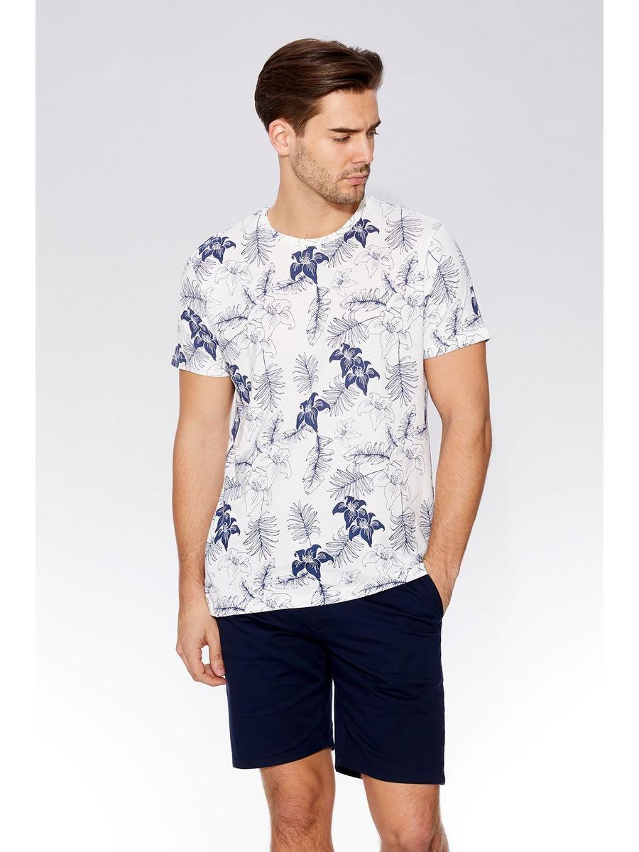 Ecru & Blue Flower Print T-Shirt