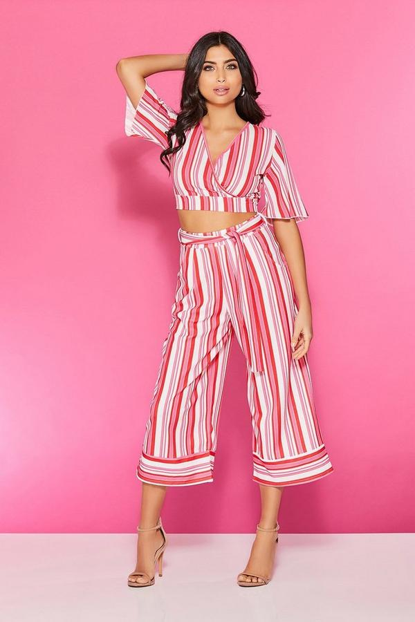 Red And Pink Stripe Culotte Trousers