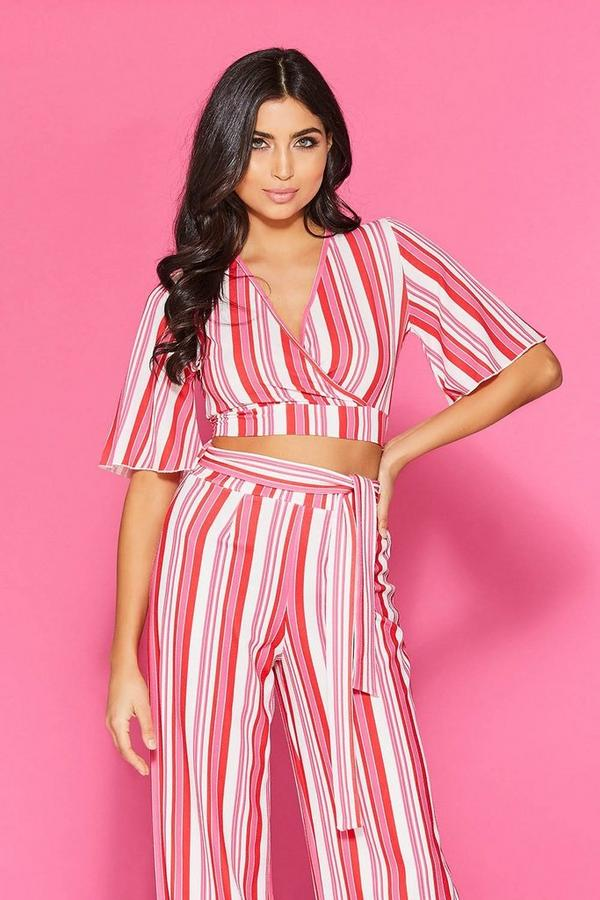Red And Pink Stripe Crop Top