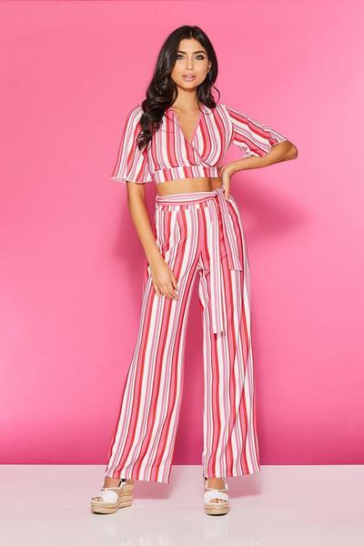 TOWIE Red And Pink Stripe Palazzo Trousers