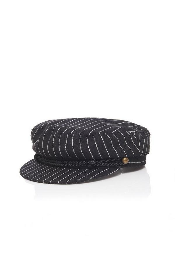 Black Stripe Baker Boy Hat