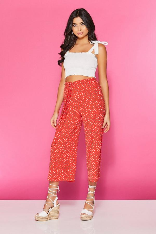 TOWIE Red And White Polka Dot Tie Belt Culotte Trousers