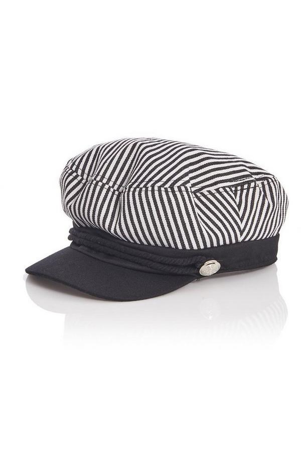 White Stripe Baker Boy Hat