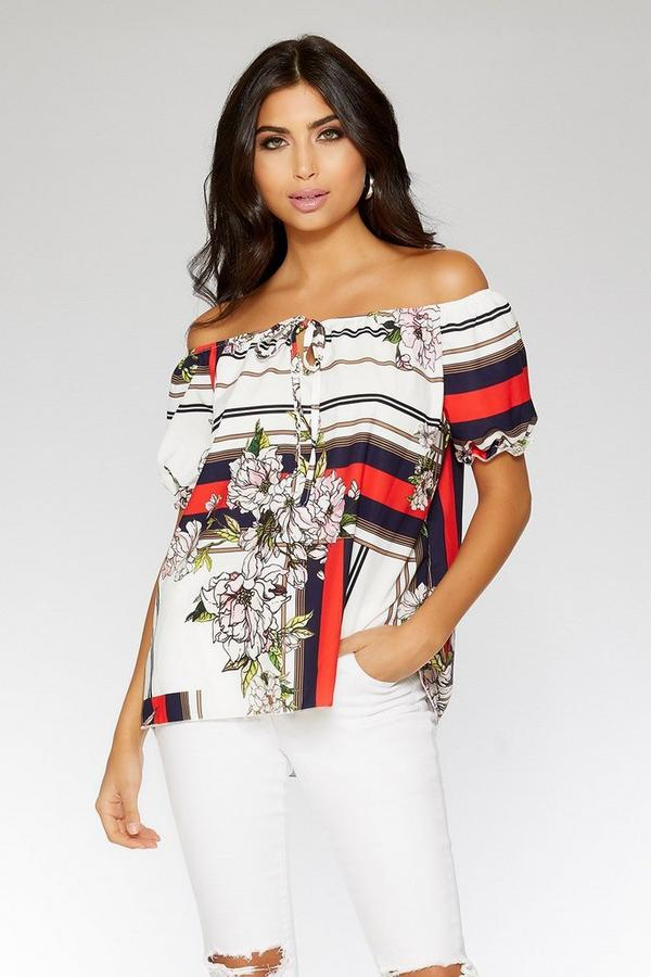 Navy Red and Cream Floral Stripe Bardot Top