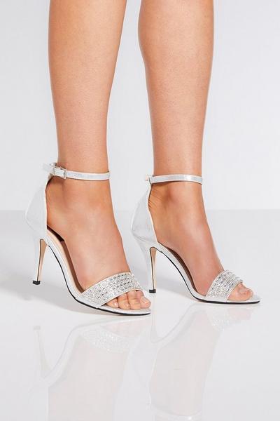Silver Diamante Strap Heels