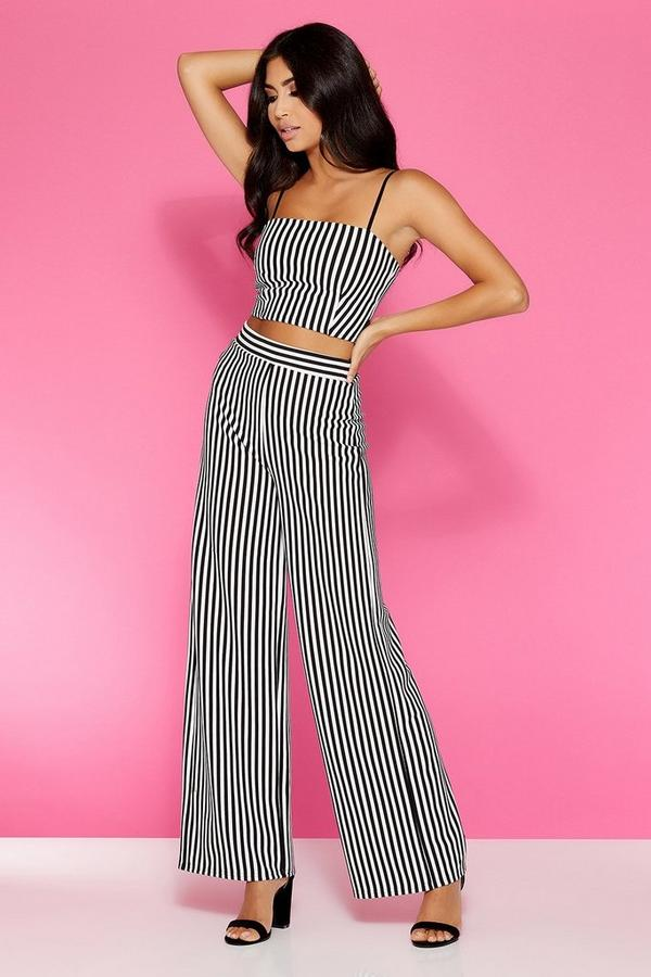White And Black Stripey High Waisted Trousers