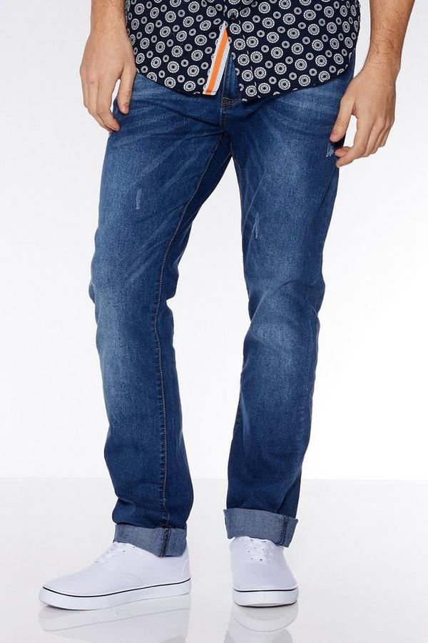 Mid Blue Abrasion Slim Fit Jeans