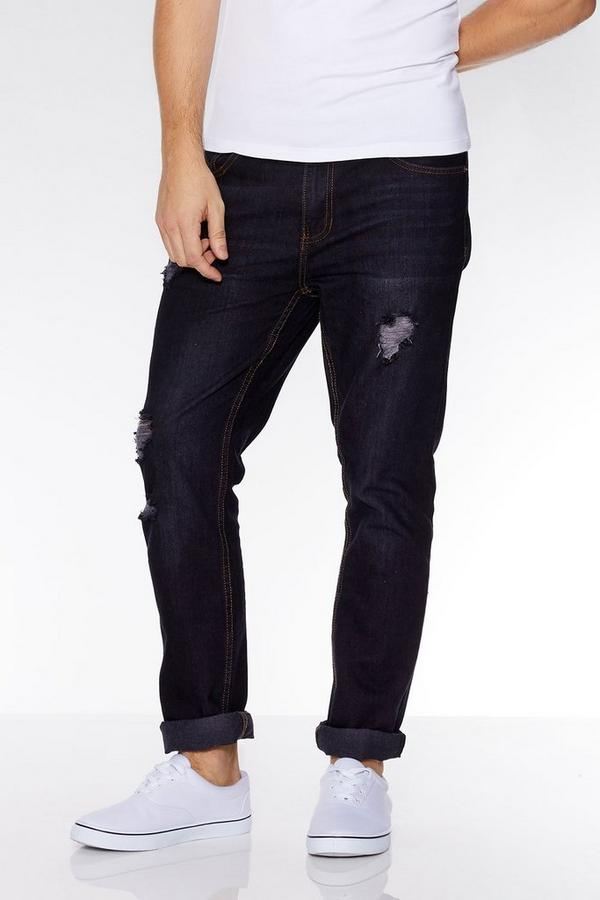 Dark Blue Ripped Detail Slim Fit Jeans
