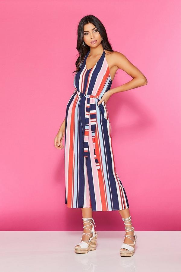 TOWIE Navy & Pink Stripe Halter Neck Culotte Jumpsuit