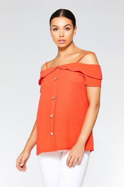 Orange Button Strap Cold Shoulder Top