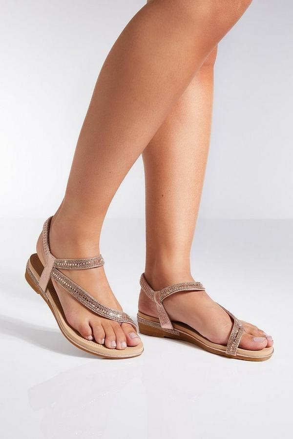 Rose Gold Metallic Slant Sandals