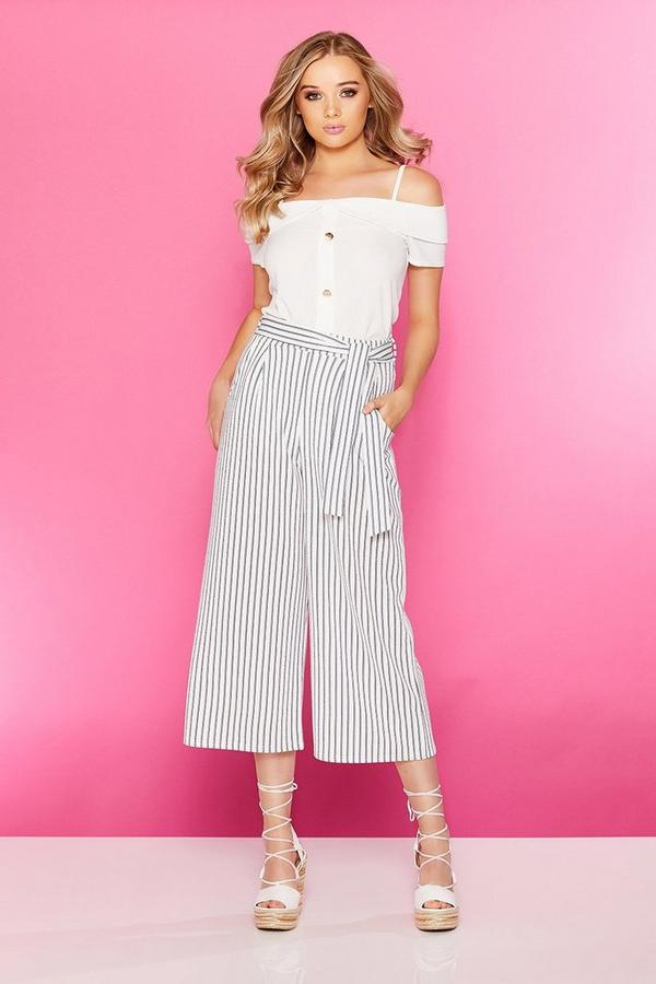 White And Navy Stripe Culotte Trousers
