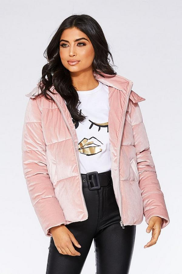 Dusky Pink Velvet Puffer Jacket