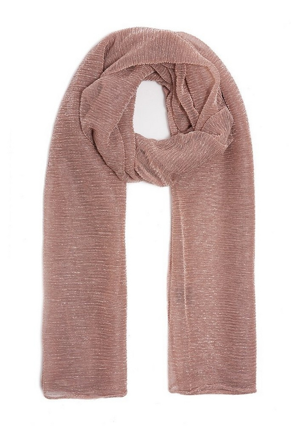 Rose Gold Shimmer Ribbed Scarf