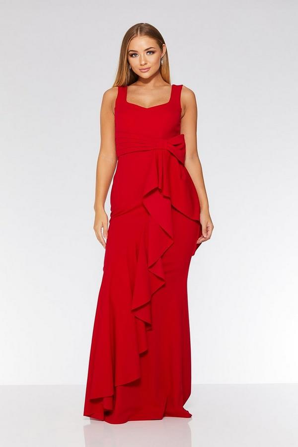 Red Bow Ruffle Front Maxi Dress
