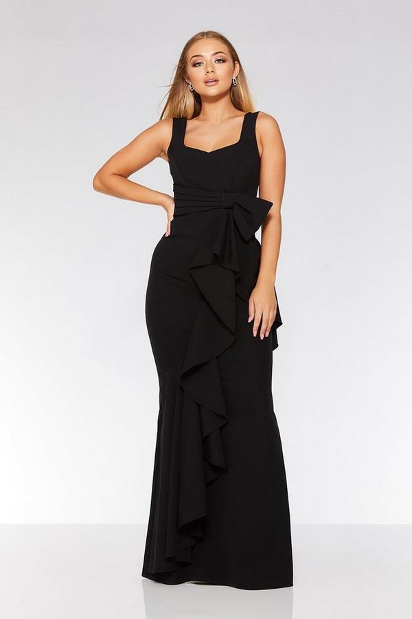 Black Bow Ruffle Front Maxi Dress