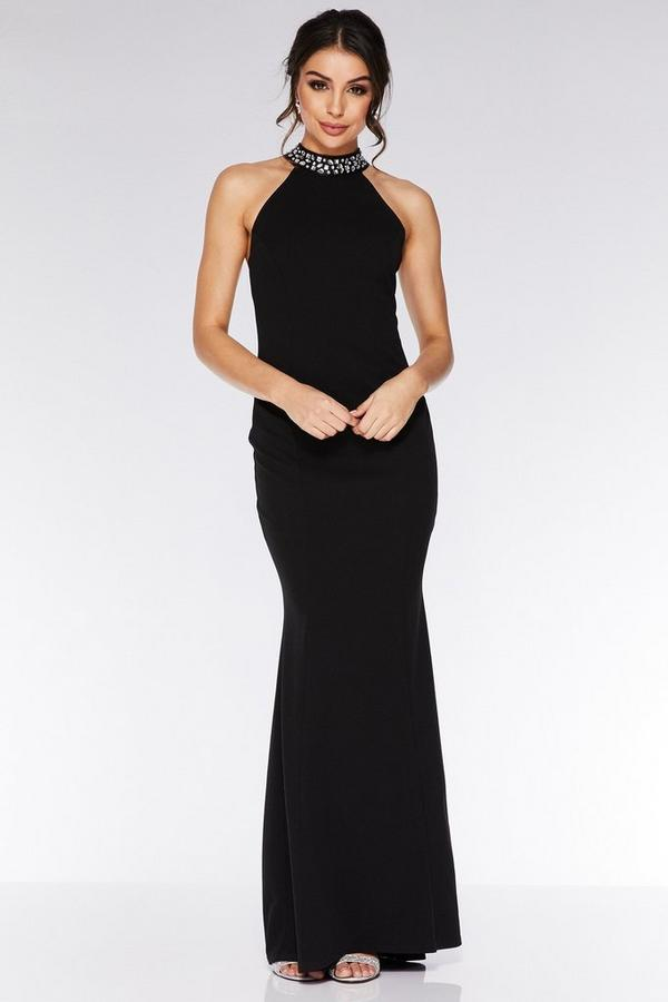 Black Embellished Back Fishtail Maxi Dress