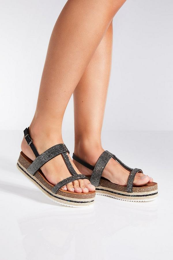 Black Diamante Strap Flatform Sandals