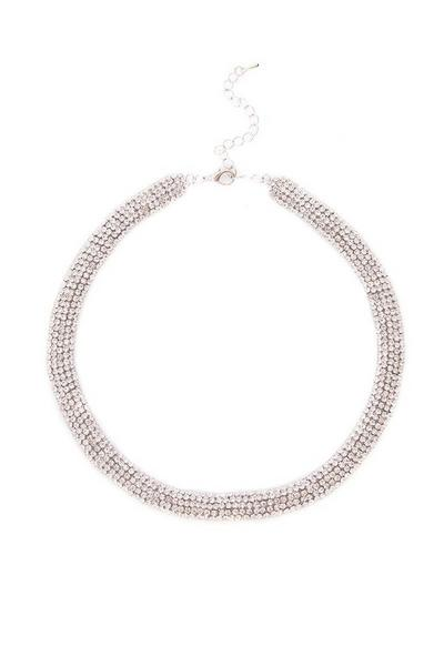 Silver Diamante Short Necklace